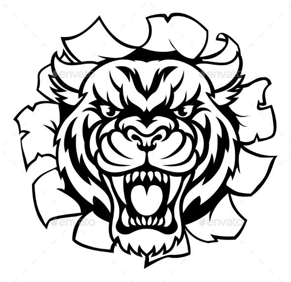 Tiger Background Breakthrough - Miscellaneous Vectors