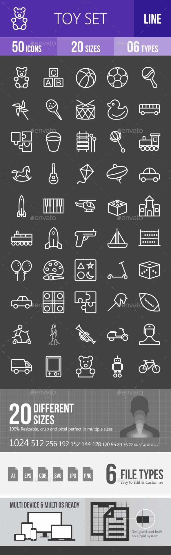 Toys Line Inverted Icons - Icons