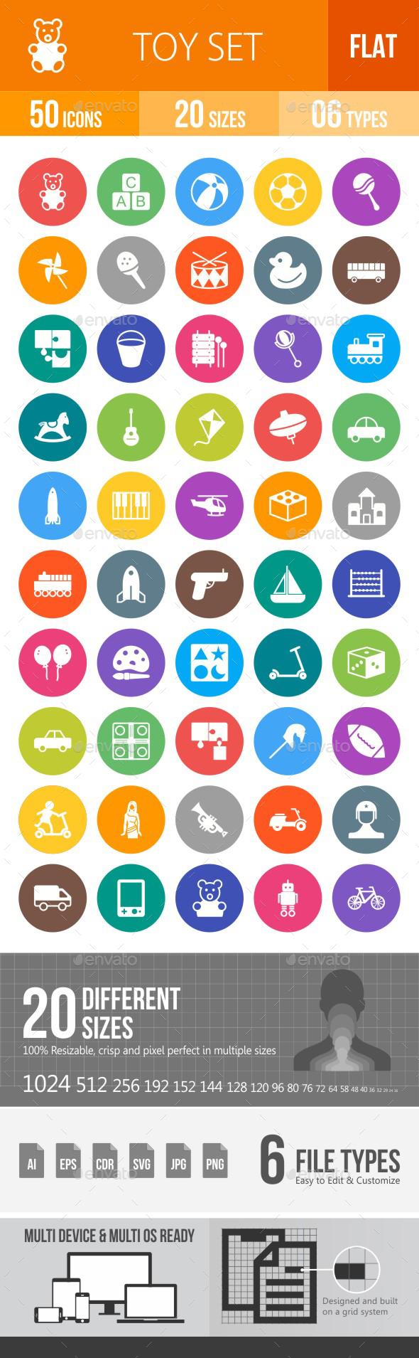 Toys Flat Round Icons - Icons
