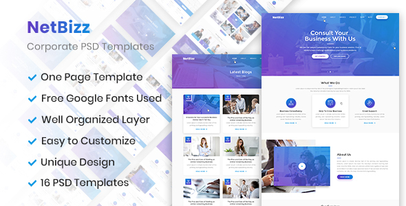 Netbizz - Business and Corporate PSD Templates - Corporate PSD Templates