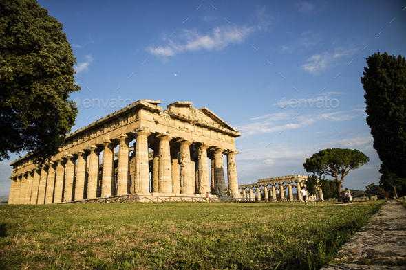 The ancient ruins of Paestum - Stock Photo - Images