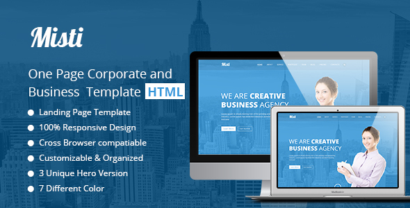 Image of Misti – One Page Corporate and Business  Landing template