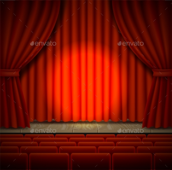 Concert Stage Vector Realistic Illustration - Backgrounds Decorative