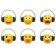 Music Emoji in Headphones Vector Icon Set