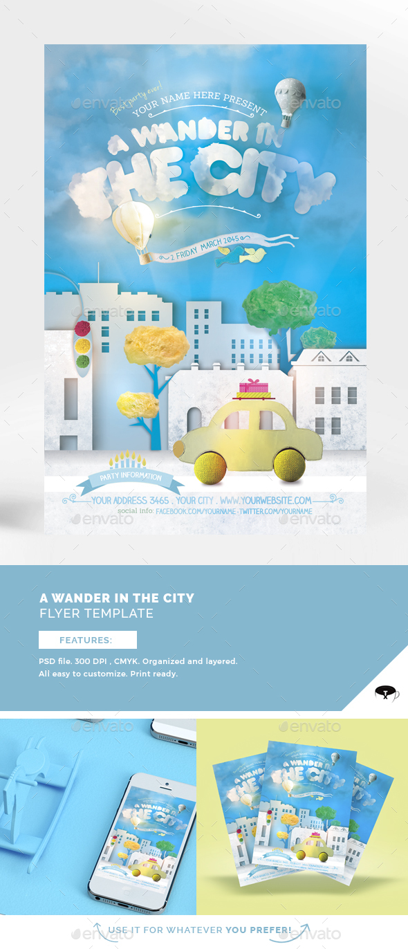 A Wander In The City Flyer Template - Flyers Print Templates