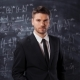 Portrait of Scientist Man Standing Near Mathematical Equations - VideoHive Item for Sale