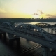 Aerial Footage. Fly Near Kyiv Bridge at Sunset - VideoHive Item for Sale