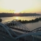 Fly Out Over Kyiv Bridge at Sunset - VideoHive Item for Sale