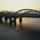 Aerial Footage. Low Fly To Kyiv Bridge at Sunset - VideoHive Item for Sale