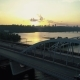 Aerial Footage. Fly Over Kyiv Bridge at Sunset - VideoHive Item for Sale