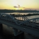 Fly Rise Above Kyiv Bridge at Sunset - VideoHive Item for Sale
