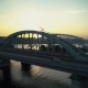Aerial Footage. Fly Backward Near Kyiv Bridge at Sunset - VideoHive Item for Sale