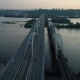 Aerial Footage. Radial Fly Above Kyiv Bridge at Sunset - VideoHive Item for Sale