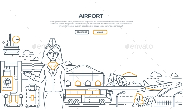 Airport - Modern Line Design Style Illustration - Travel Conceptual