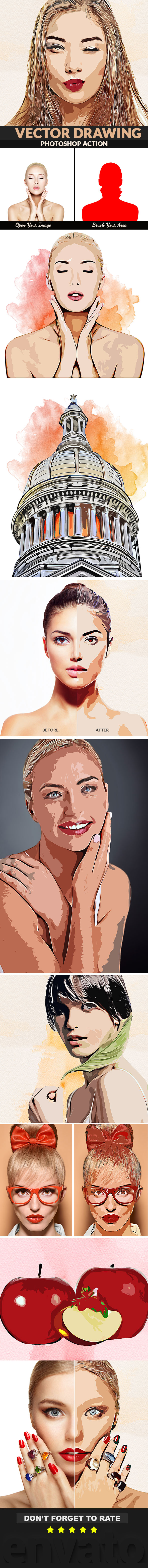 Vector Drawing Photoshop Action - Photo Effects Actions