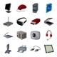 Personal Computer Cartoon Icons in Set Collection