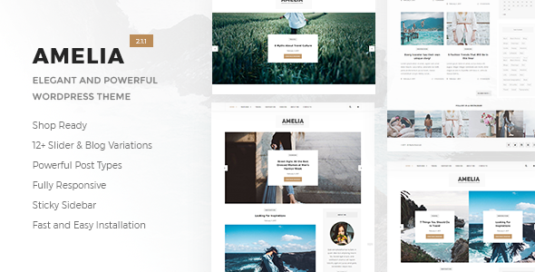Amelia - Clean Blog & Magazine WordPress Theme + Woocommerce