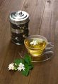 homemade jasmine tea and arabian jasmine flower