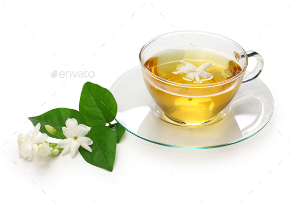 homemade jasmine tea and arabian jasmine flower isolated on white background - Stock Photo - Images
