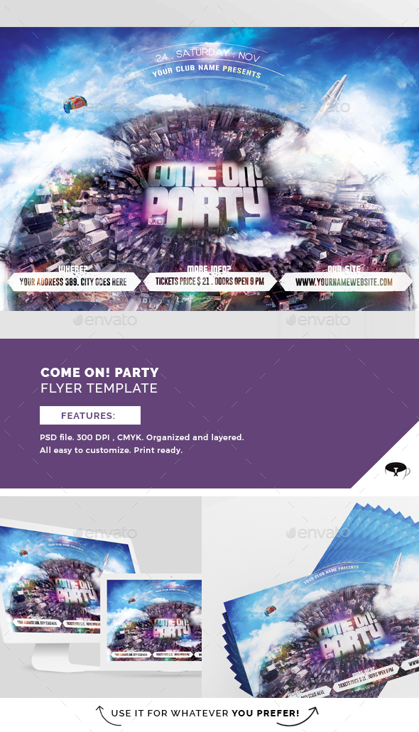 Come On! Party Flyer Template - Flyers Print Templates