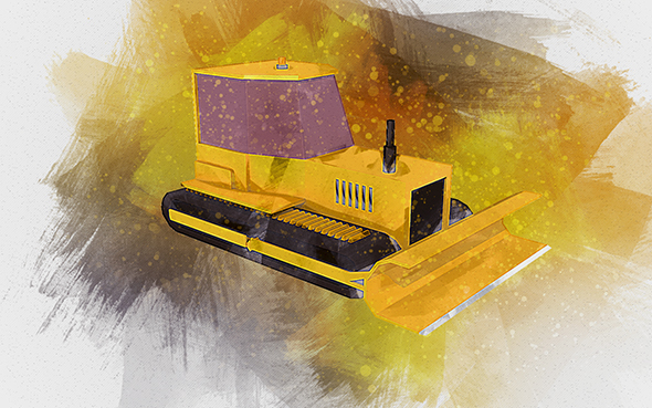 Low Poly Dozer - Ready To Render - 3DOcean Item for Sale