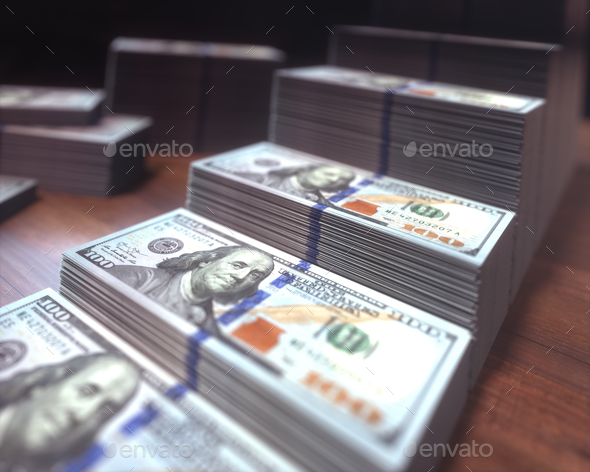 Dollar Bills Growing Bar Chart - Stock Photo - Images