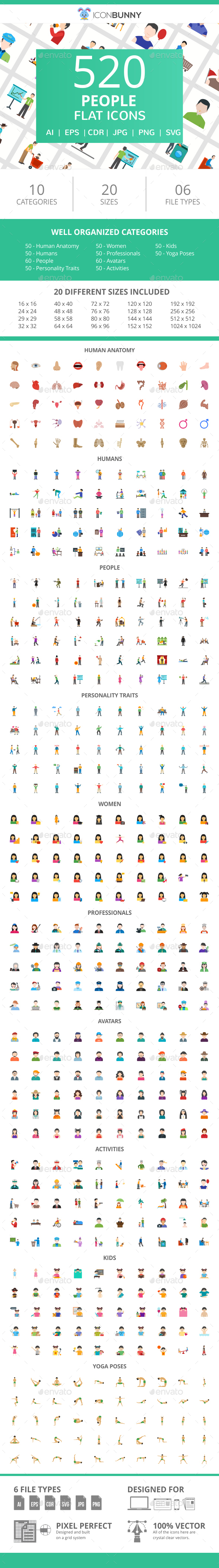 520 People Flat Icons - Icons