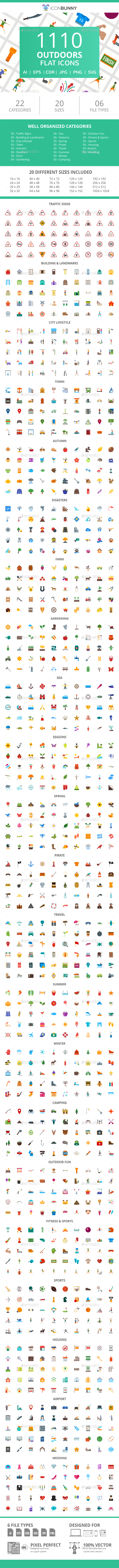 1110 Outdoors Flat Icons - Icons