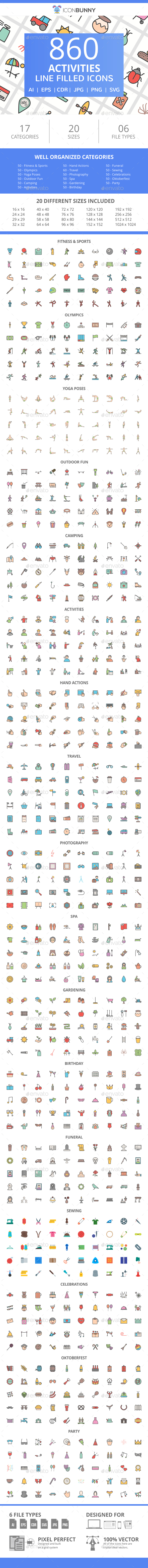 860 Activities Filled Line Icons - Icons