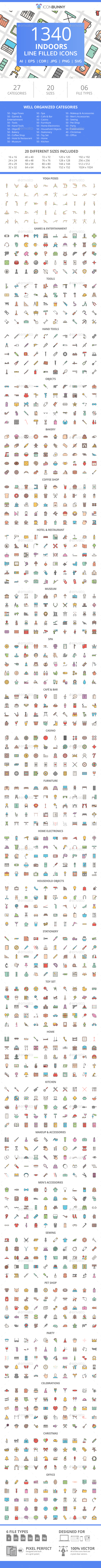 1340 Indoors Filled Line Icons - Icons