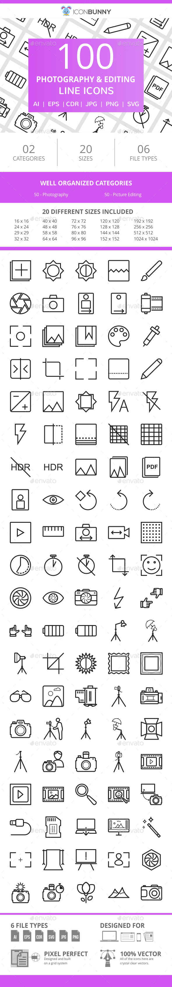 100 Photography & Picture Line Icons