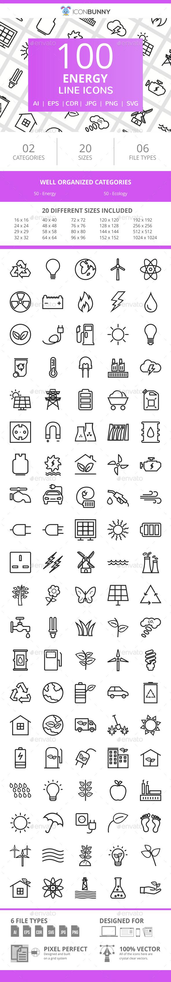 100 Energy Line Icons - Icons