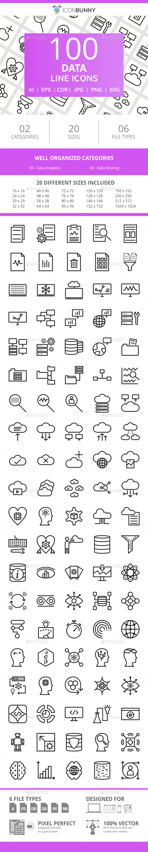 100 Data Line Icons - Icons