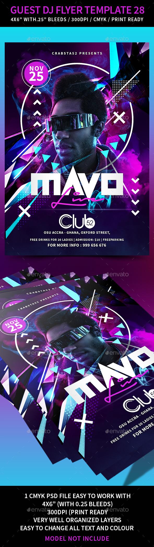 Guest DJ Flyer Template 28 - Clubs & Parties Events