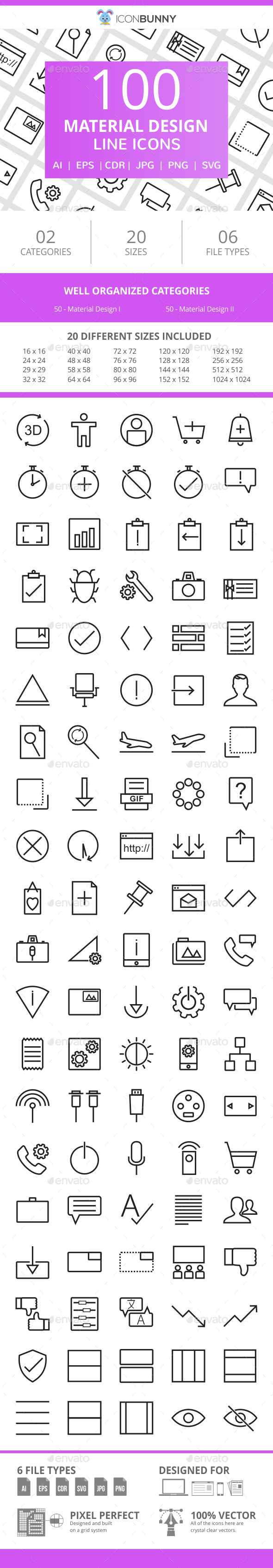 100 Material Design Line Icons - Icons