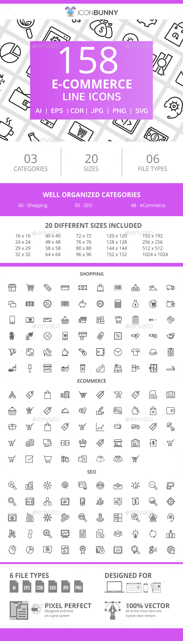 158 E-Commerce Line Icons - Icons