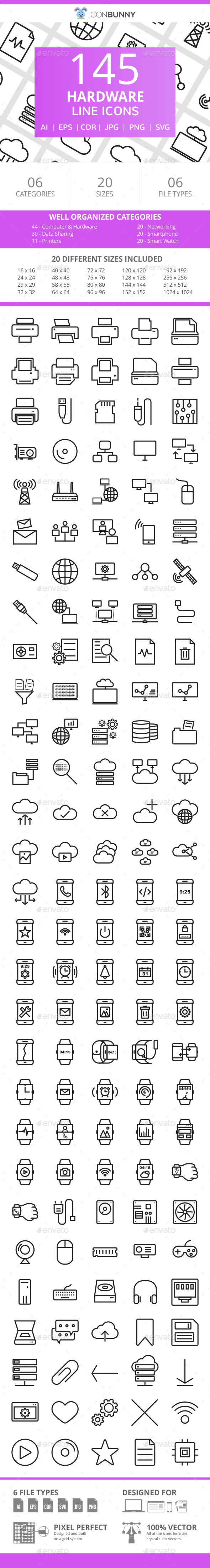 166 Hardware Line Icons - Icons