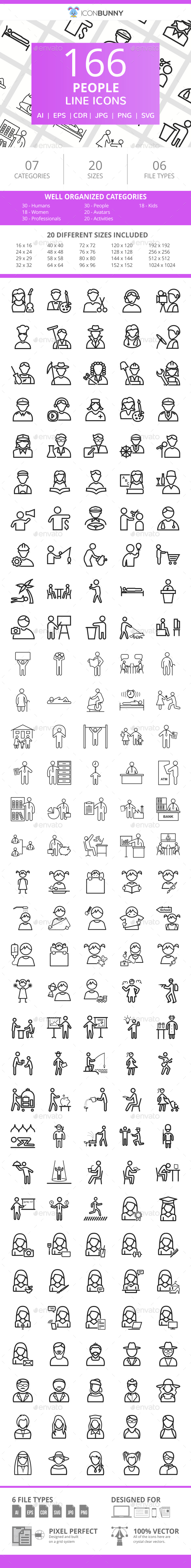 166 People Line Icons - Icons