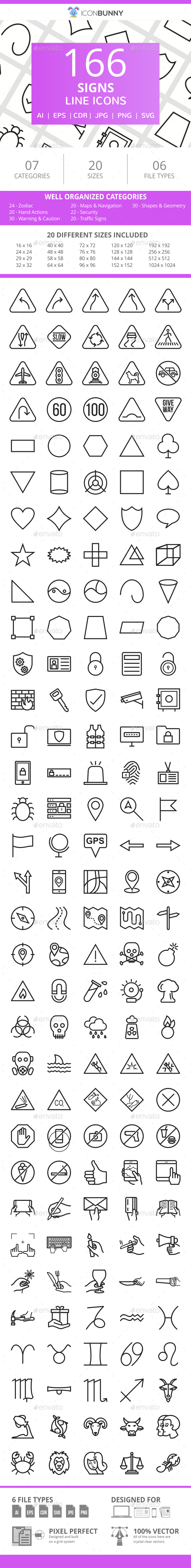 166 Sign Line Icons - Icons