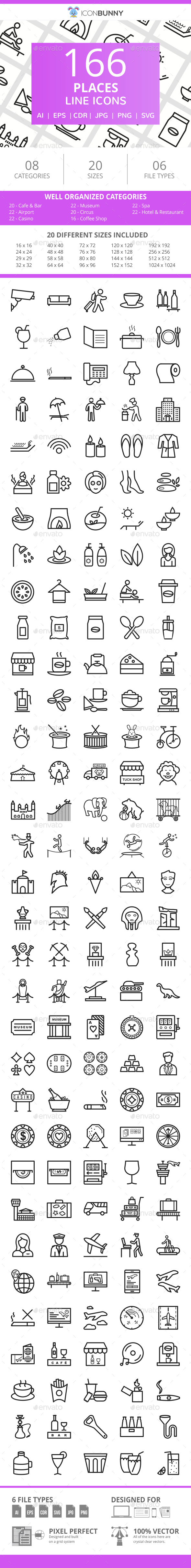 166 Places Line Icons - Icons