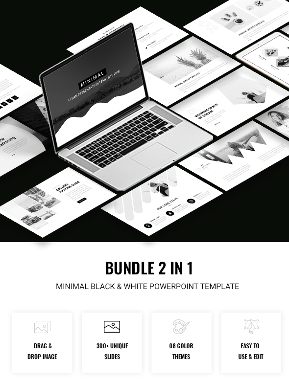 2 in 1 Black & White Powerpoint Template Bundle - Creative PowerPoint Templates