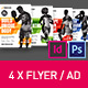 4x Fitness Universal Flyer/Ad/Poster Banner InDesign and Photoshop Template