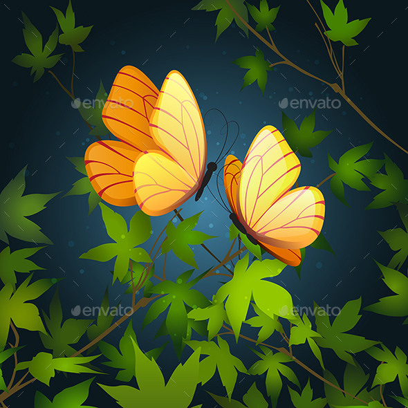 Two Flying Butterflies - Animals Characters