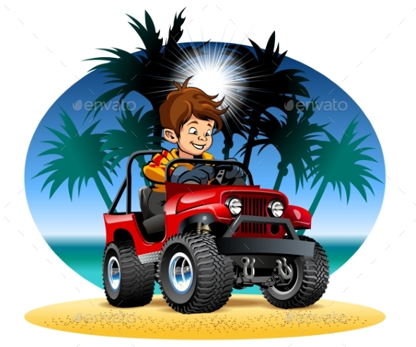 Vector Cartoon Boy Driving 4X4 Car on the Beach - Man-made Objects Objects