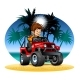Vector Cartoon Boy Driving 4X4 Car on the Beach - GraphicRiver Item for Sale