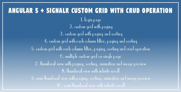 Angular 5 + SignalR Custom Grid with CRUD Operation            Nulled