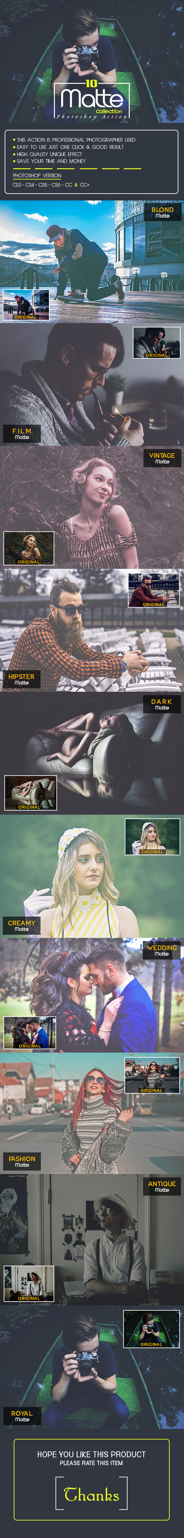 10 Matte Collection Photoshop Action - Photo Effects Actions