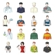 People of Different Professions Cartoon Icons