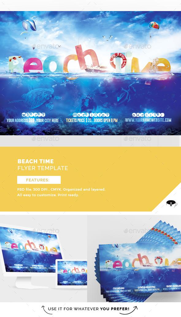 Beach Time Flyer Template - Flyers Print Templates