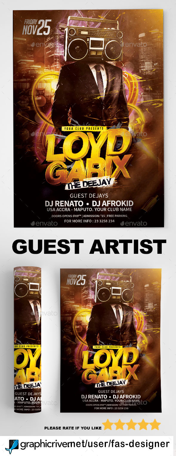 Guest Artist Flyer Template v5 - Clubs & Parties Events